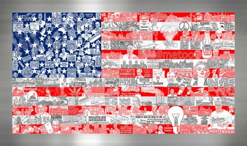 American flag art composed of different historical figures, collaged together, on aluminum.