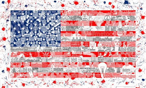 American flag art composed of different historical figures, collaged together with a splatter paint background.