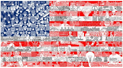 American flag art composed of different historical figures, collaged together.