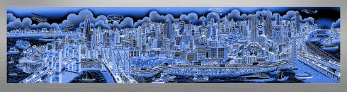 This image is the first mural-sized release from Charles Fazzino since 2015. It's a look at New York City from the East River, taking in the tip of Manhattan all the way up to the George Washington Bridge. This die-sublimation print on aluminum is available in three different variations, this particular variation is different hues of blue.
