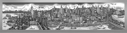 This image is the first mural-sized release from Charles Fazzino since 2015. It's a look at New York City from the East River, taking in the tip of Manhattan all the way up to the George Washington Bridge. This die-sublimation print on aluminum is available in three different variations, this particular variation is in black and white..