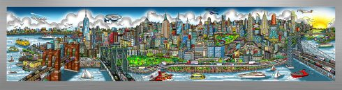 This image is the first mural-sized release from Charles Fazzino since 2015. It's a look at New York City from the East River, taking in the tip of Manhattan all the way up to the George Washington Bridge. This die-sublimation print on aluminum is available in three different variations, this particular variation is very colorful.