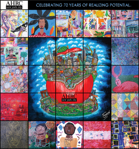 AHRC's collage of various pieces of artwork