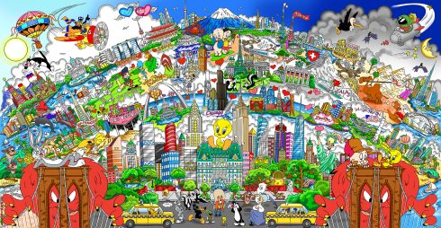 Colorful piece of Fazzino's artwork with NYC as the main feature in the middle with Looney Tunes characters scattered about and other cities from all over the world in the background.