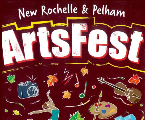 """An image saying """"New Rochelle & Pelham ArtsFest"""" with drawings beneath it of a camera, music notes, a dancer, an artist palette, violin, etc"""