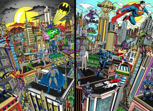 Pieces of art that meld together different generations of super villains, but in classic Fazzino style. Characters like Batman, Superman, the Riddler, Joker, Lex Luther, Brainiac, Poison Ivy, Doomsday, and Darkside are all brought to life.