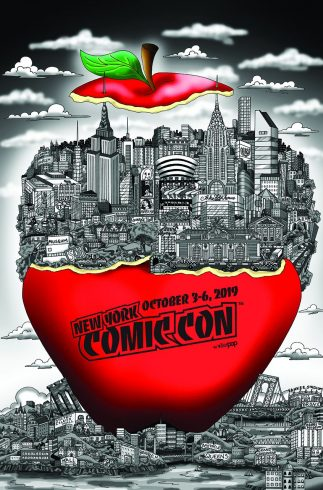 "Black and white New York City in an big red apple that says ""New York Comic Con October 3-6, 2019"""