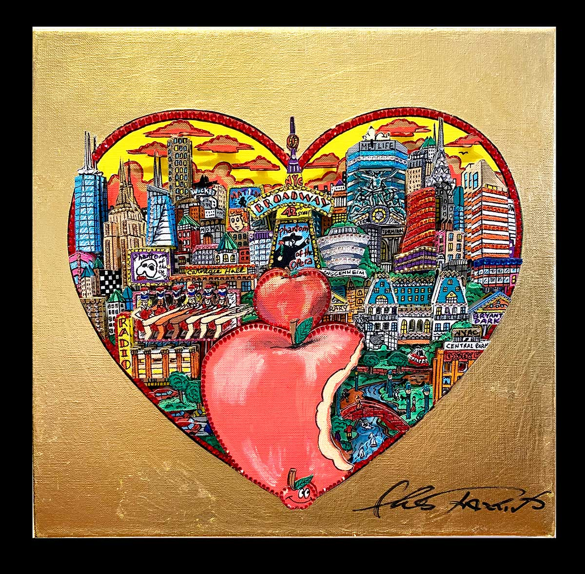 "Fazzino's ""A Bite Out of the Heart of the Big Apple"", 12"" x 12"" 3D Mixed-Media Original on Canvas"