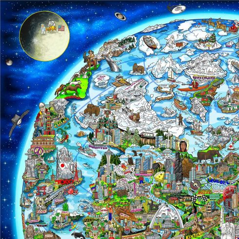 Close up of 3D Pop Artist Charles Fazzinos artwork of the world which highlights prominent figures and icons of peace.