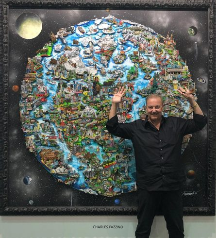 3D Pop Artist Charles Fazzino posing in front of his 8-foot tall art piece at the 2019 Korean International Art Fair.
