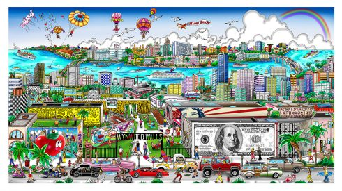 A colorful piece of art depicting a Miami cityscape with series of larger-than-life walls adorned with works that pay tribute to some of Charles and Heather Fazzino's favorite artists.