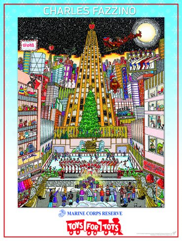 Toys for Tots poster by Charles Fazzino depicting NYC during the holidays.
