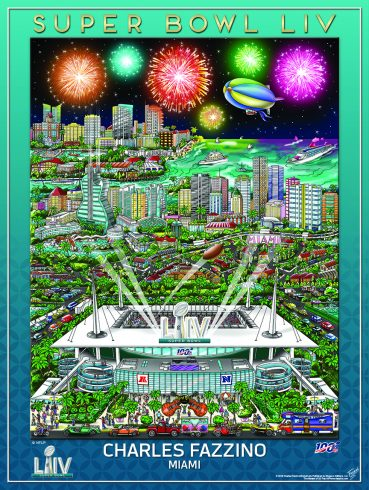 Fazzino's colorful Superbowl LIV poster showing the Hard Rock Stadium in Miami Gardens, Florida and other parts of Florida in the background.