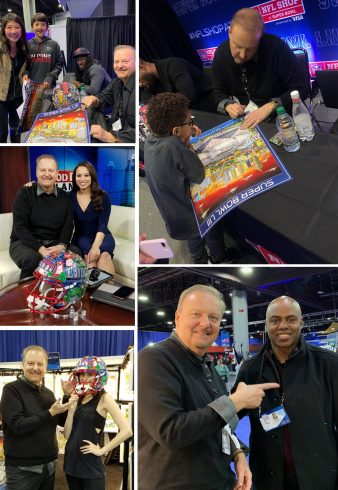 Scenes from at Super Bowl LIII in Atlanta. Fazzino and Desmond Trufont signing posters and Fazzino posing with others.