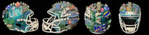 Super Bowl football helmet by Charles Fazzino.
