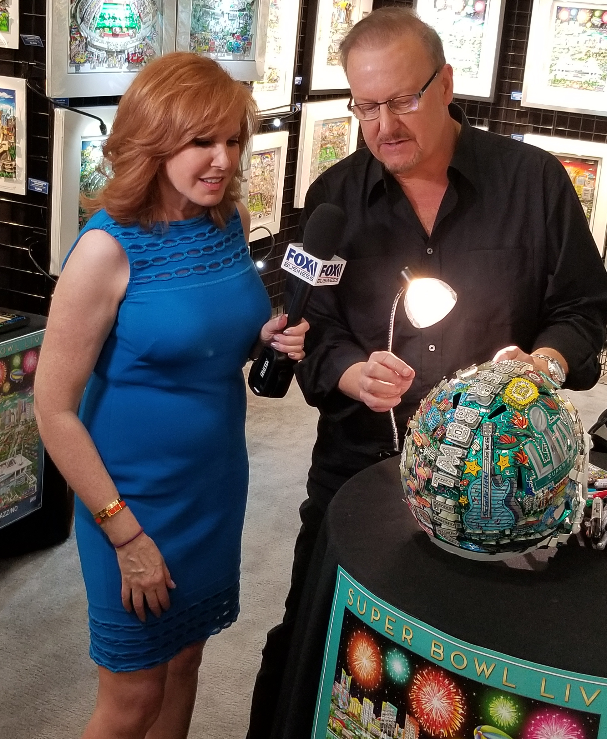 Fox Business Personality Liz Claman came by for a Facebook Live session to discuss Fazzino's Super Bowl art.