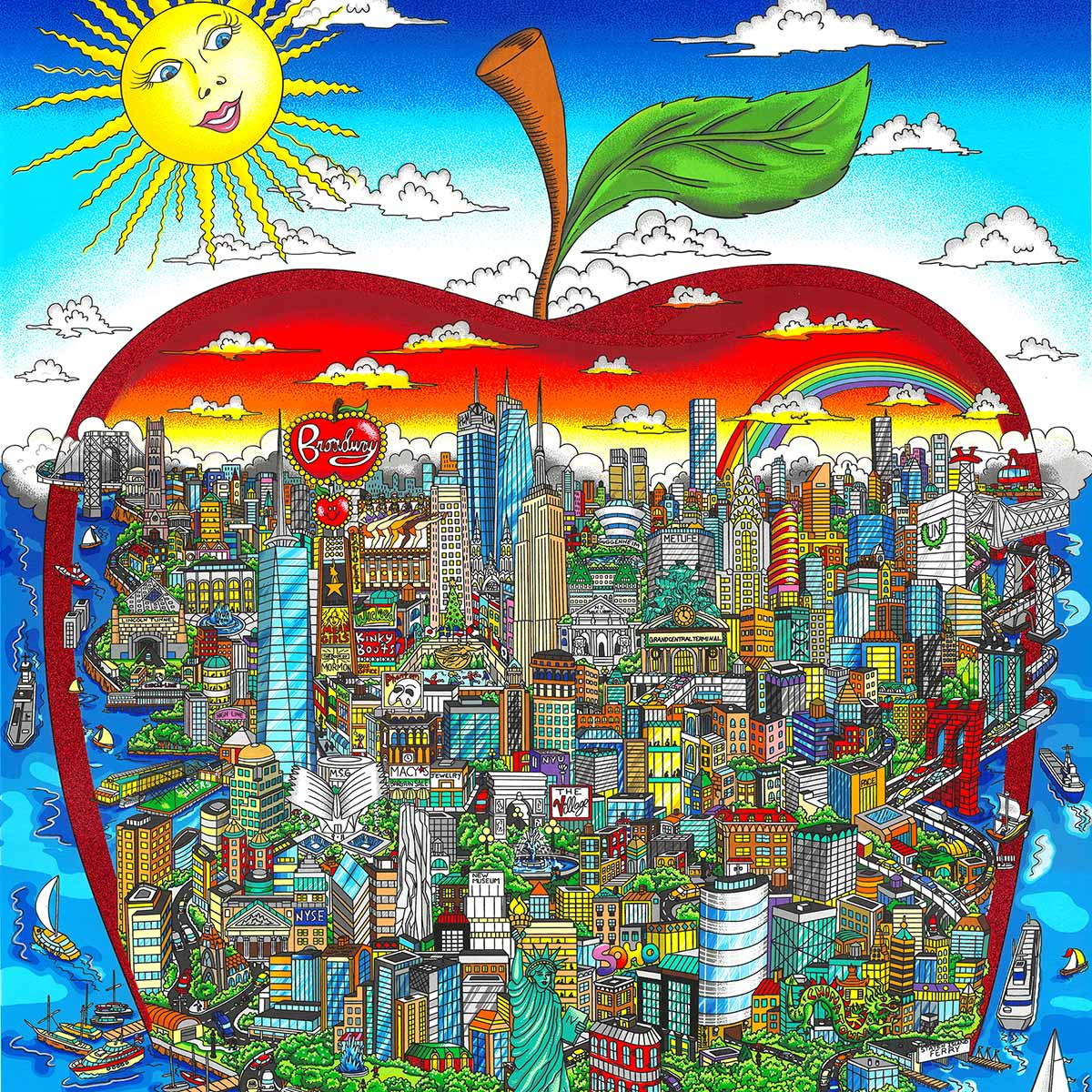 "Fazzino's new release ""The Sun Shines Bright Over the Big Apple"" 3D limited edition silkscreen on paper"
