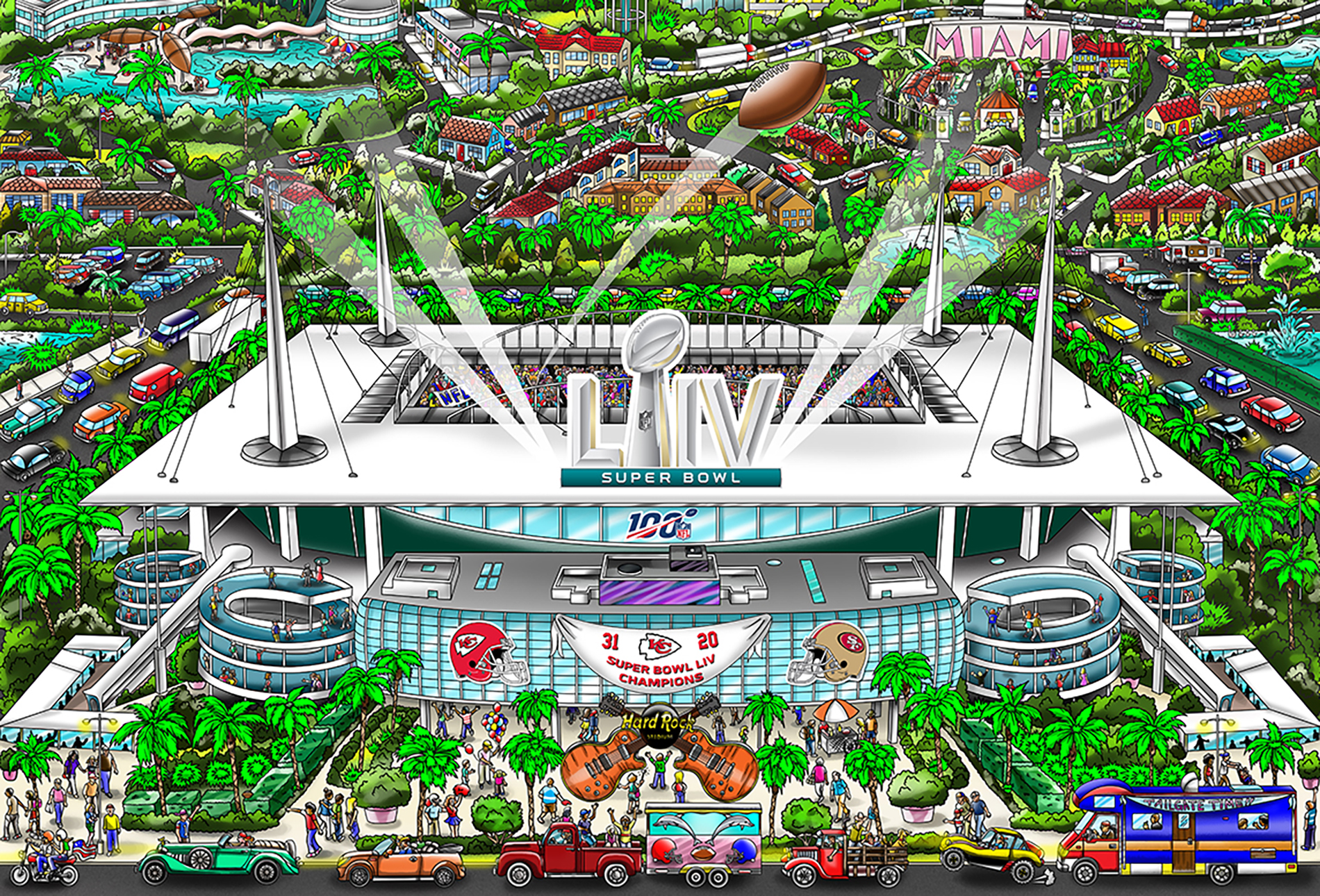 A poster featuring the LIV Super Bowl football stadium, surrounding Miami, and final scores.