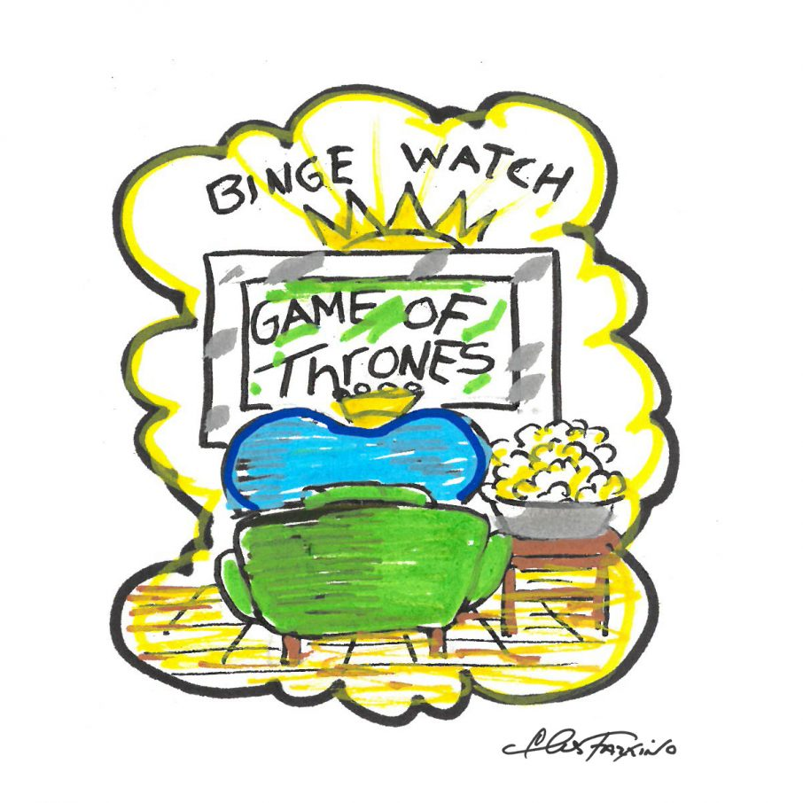 A Fazzino doogle drawing of a heart binge watching game of thrones in color