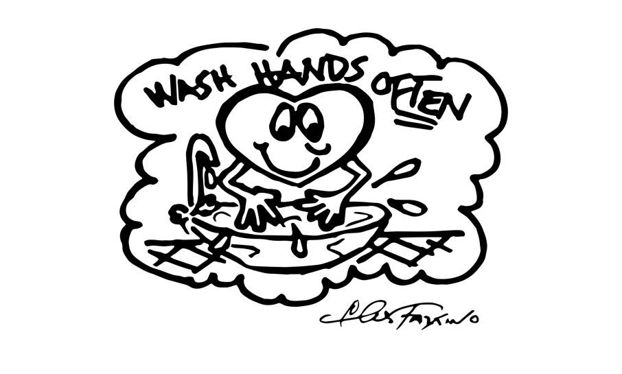 A Fazzino doodle in black and white showing a heart washing it's hands