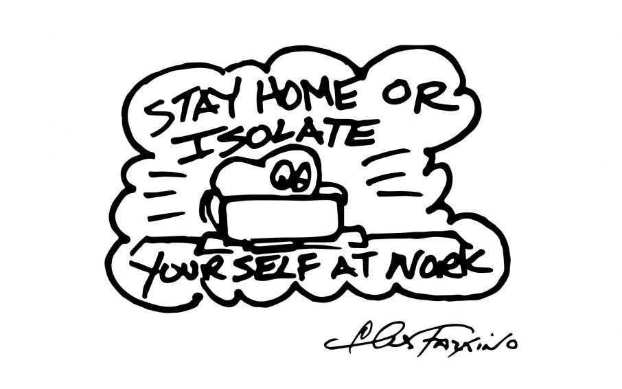 A Fazzino doodle drawing of a heart isolating at home in black + white
