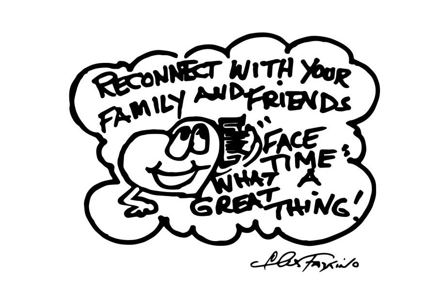 A Fazzino doodle drawing of a heart reconnecting with friends on facetime in black + white