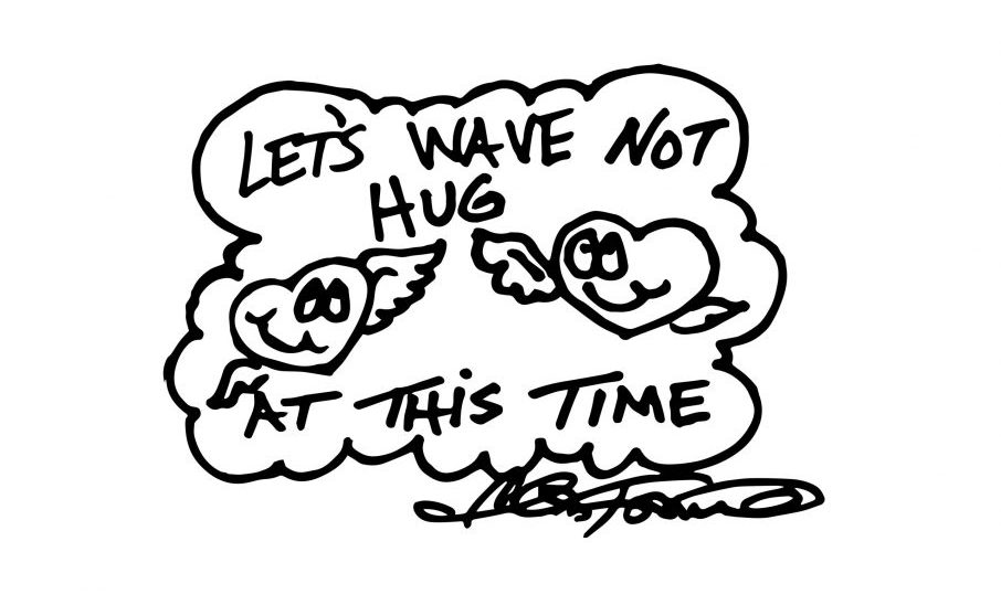 A Fazzino doodle showing hearts in black + white waving instead of hugging