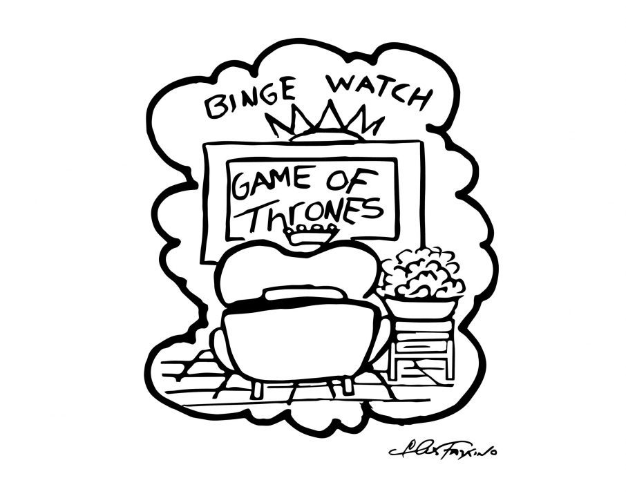 A Fazzino doogle drawing of a heart binge watching game of thrones in black + white