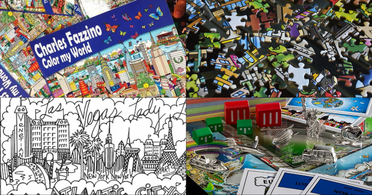 Fazzino's Color my World coloring book, puzzle and Monopoly board game