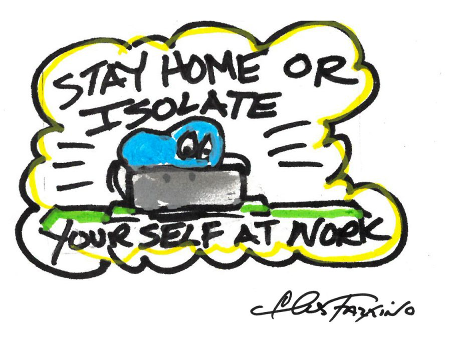 A Fazzino doodle drawing of a heart isolating at home in color