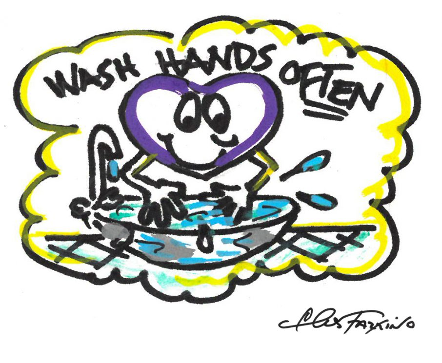 A Fazzino colored doodle showing a heart washing it's hands
