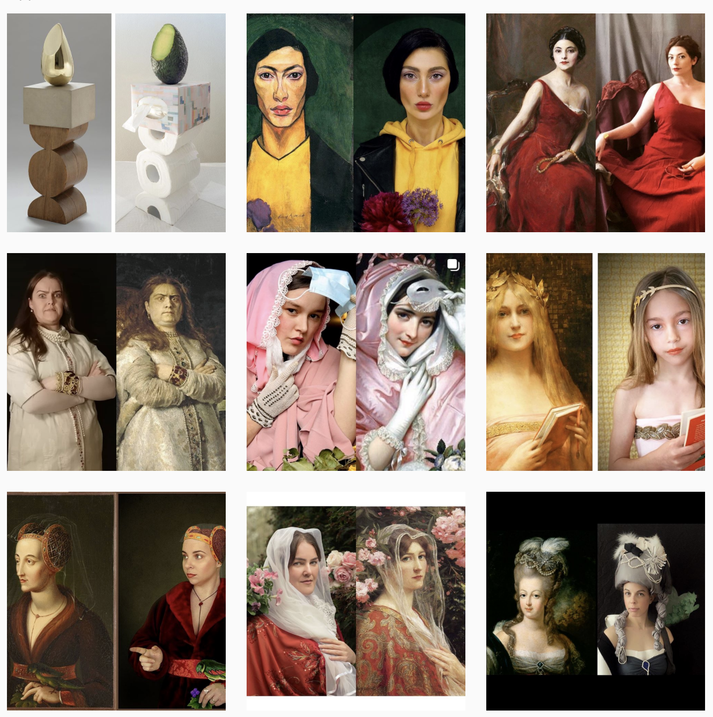 Examples of the #GettyMuseumChallenge where people imitate famous pieces of art!