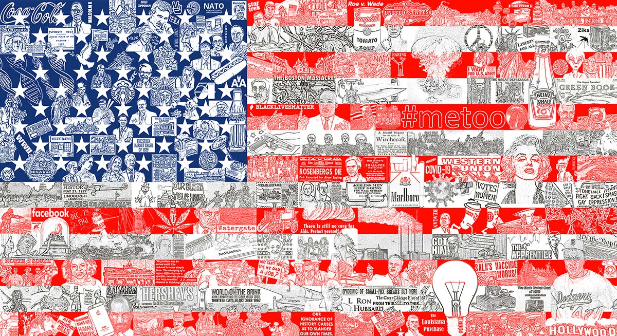 """Charles Fazzino's release titled """"Historically, Our American Flag"""""""