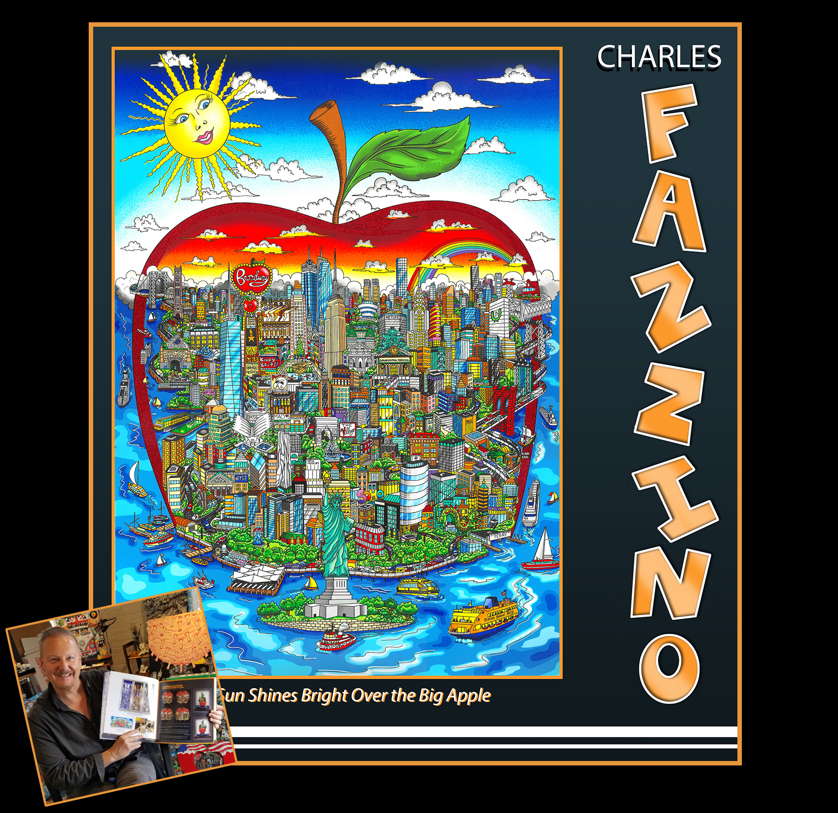 """Charles Fazzino's art book titled """"The Sun Shines Bright Over the Big Apple"""""""