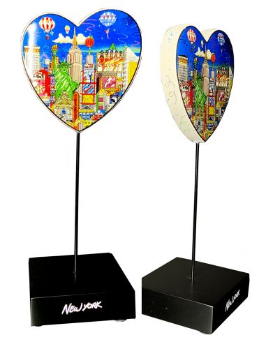 Hearts on a pedestal featuring Fazzino 3d pop art cityscapes of New York