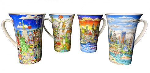 A set of coffee/tea mugs featuring Fazzino 3d pop art cityscapes