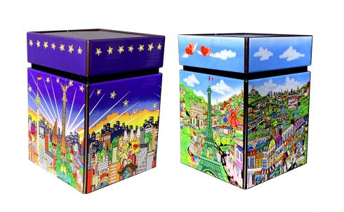 Metal tins for your dresser or desk featuring Fazzino 3d pop art cityscapes