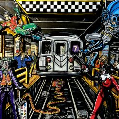 3d pop art of joker, batman, robin and harley quinn in nyc subway station - 3D pop artist Charles Fazzino