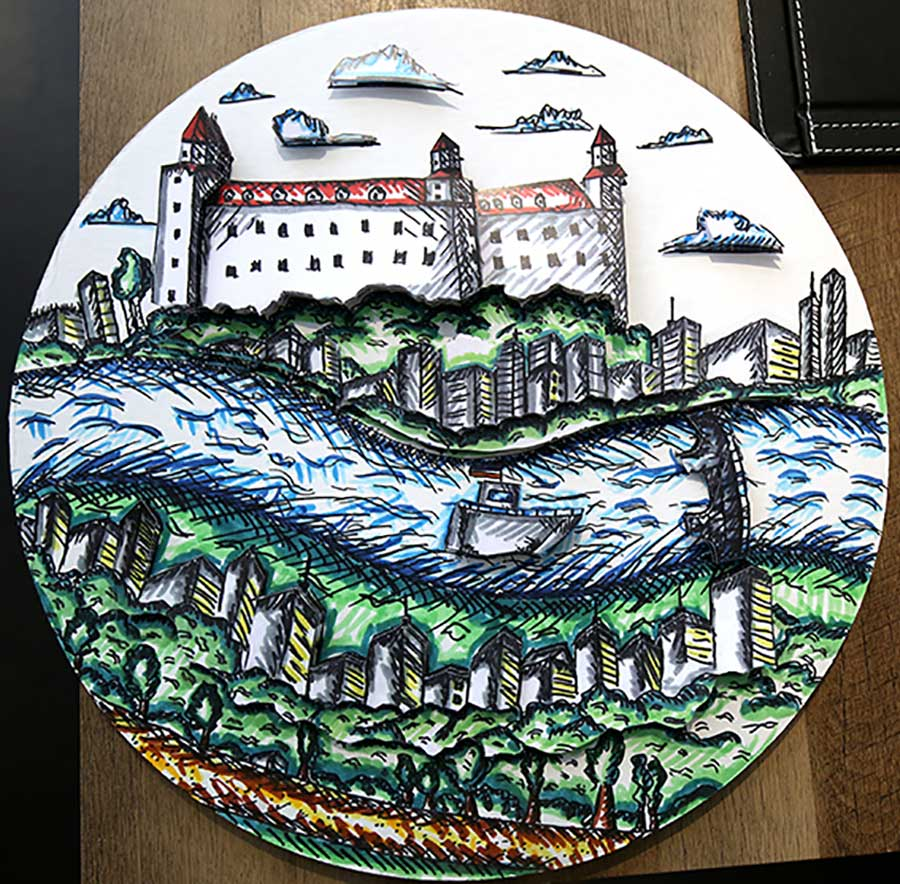 A painting of a paris france cityscape on a round substrate