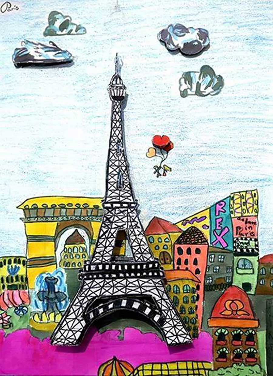 Student artwork of a Eiffel Tower Paris cityscape from a virtual art workshop