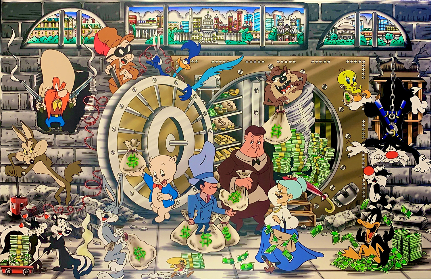 "Heather Fazzino's ""The Looney Heist"" depicts the Looney Tunes characters robbing a bank."