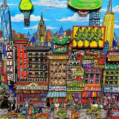 New York City pickle festival with Katzs Deli and city skyline 3D pop artwork - Pickle Dance East Side - Charles Fazzino