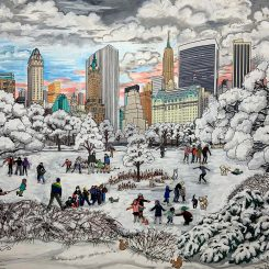 Snow day in central park with people ice skating and playing in the snow with NYC skyline in the background pop artwork by Charles Fazzino