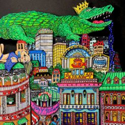 close up of Chrocadile with crown on top of city buildings and close up of Jazz festival 3D pop artwork by Charles Fazzino
