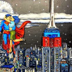 close up of Superman and Lois Lane flying next to Empire State Building above NYC skyline in night sky - 3D artwork by Charles Fazzino