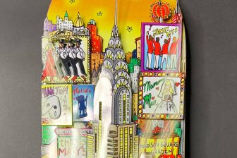 top of 3D pop art skateboard of nyc city skyline - Charles Fazzino