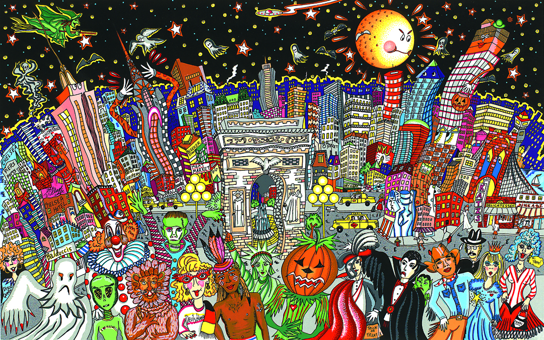 Ghosts, Good Times, and Gridlock is a Fazzino piece showing the annual Greenwich Village Halloween Parade in New York City