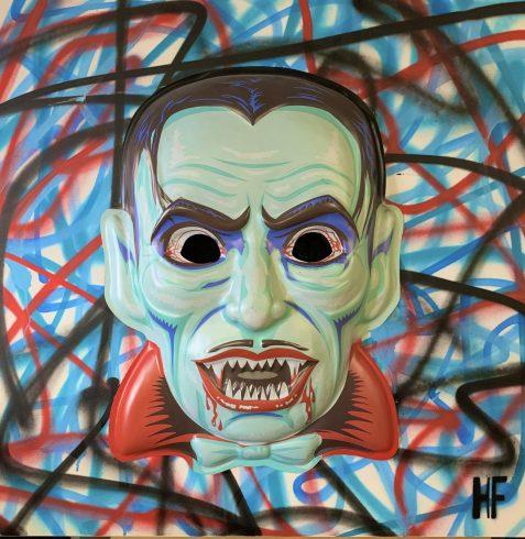 Dracumask is an original piece on canvas by Heather Fazzino