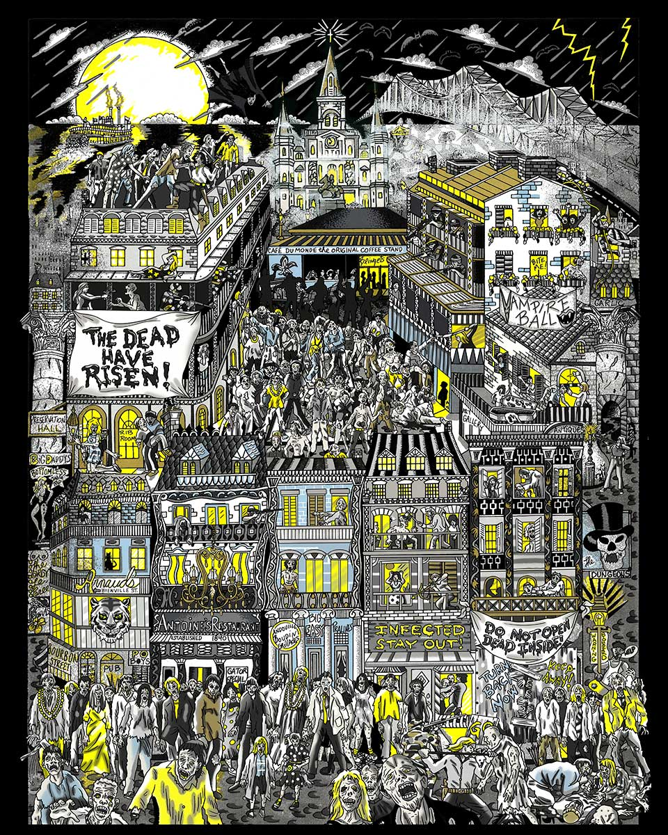 Fazzino's The Dawn of the Dead piece depicting zombies taking over New Orleans