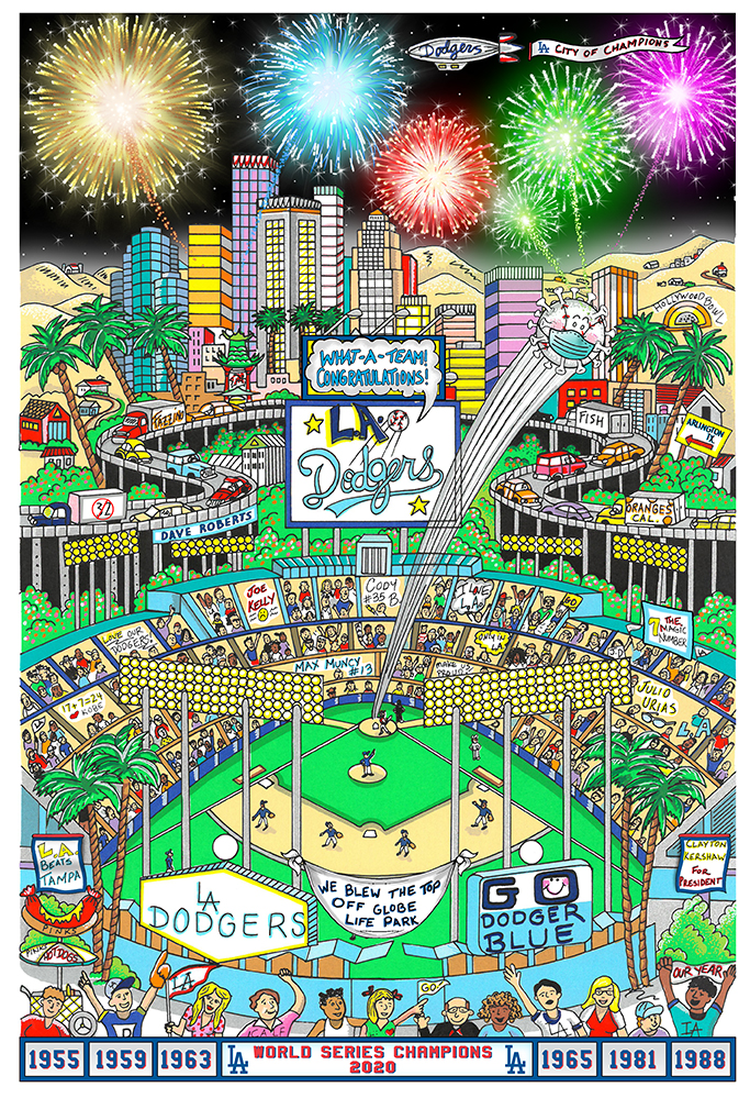 A poster of Dodger Stadium with Los Angeles in the background, and fans celebrating the LA Dodgers World Series win.